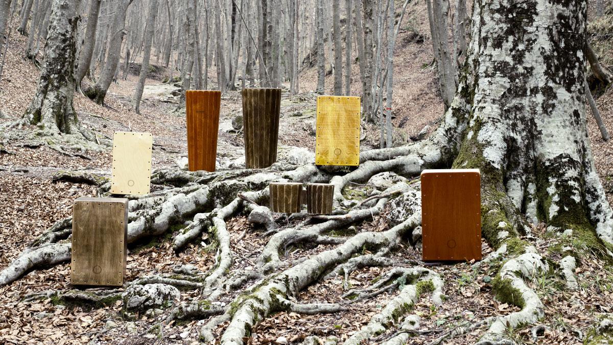 Immagine Aziendale con i prodotti Tambor ambientati in una foresta